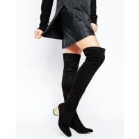 AsosKAILIS Detailed Heeled Over The Knee Sock Boots - Black