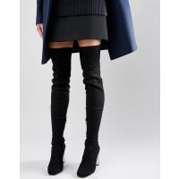 AsosKALIDA Clear Heel Over The Knee Boots - Black