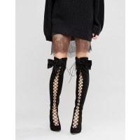 AsosKARI Bow - Stivali stringati sopra al ginocchio con fiocco - Nero