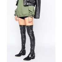 AsosKARZA Western Over The Knee Boots - Black