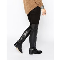 AsosKAYDEN Leather Over The Knee Boots - Black