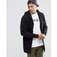 AsosKnitted Hooded Cardigan in Cotton - Black