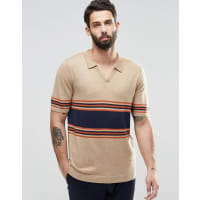 AsosKnitted Stripe Polo in Merino Wool Mix - Beige