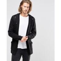 AsosLaddered Open Cardigan in Wool Mix - Black