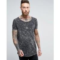 AsosLang geschnittenes, gestreiftes T-Shirt mit abgerundetem Saum und ungesäumtem U-Ausschnitt - Schwarz