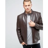 AsosLeather Biker Jacket in Brown - Brown
