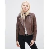 AsosLeather Biker Jacket with Zip Detail - Brown