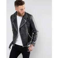 AsosLeather Vintage Look Belted Biker Jacket In Black - Black