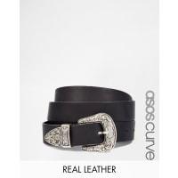 Asos CurveLeather Western Tip Waist And Hip Belt - Black