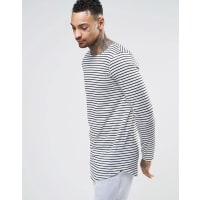 AsosLanges, langärmliges Shirt in Leinenoptik mit abgerundetem Saum und Streifen - Weiß