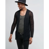 AsosLongline Cardigan in Sheer Yarn - Black