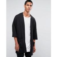 AsosLongline Jersey Cardigan In Slub - Black