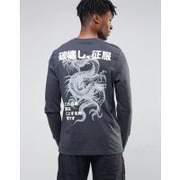 AsosLanges, langärmliges Shirt mit Drachen-Print auf der Rückseite - Schwarz