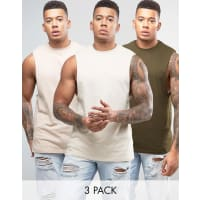AsosLongline Sleeveless T-Shirt With Dropped Armhole 3 Pack SAVE - Multi
