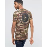 AsosLongline T-Shirt In Camo With Back Print In Khaki - Green