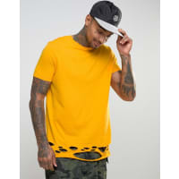 AsosLongline T-Shirt With Distressed Hem In Yellow - Yellow