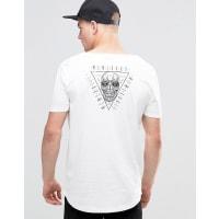 AsosHALLOWEEN - Langes T-Shirt mit Totenkopf, gerundetem Saum und U-Ausschnitt - Rot
