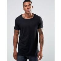 AsosLanges, schwarzes T-Shirt mit eckigem Ausschnitt - Schwarz