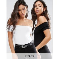 AsosThe Off Shoulder Body With Short Sleeves In Rib 2 Pack - Black