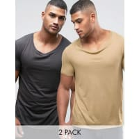 Asos2 Pack Longline T-Shirt With Stretch Neck In Beige/Black - Multi