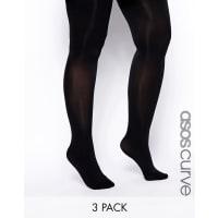 Asos Curve80 Denier 3 Pack Tights - Black