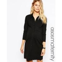 Asos MaternityPonte Shirt Dress With Scallop Hem - Black