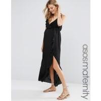 Asos MaternityRuffle Beach Wrap Maxi Dress - Black