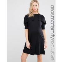 Asos MaternityT Shirt Dress with Ruffle - Black