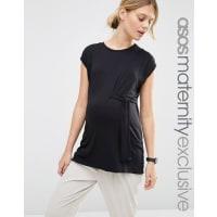 Asos MaternityT-shirt con allacciatura laterale - Nero