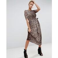 AsosMidi Dress in Leopard with Self Tie Belt