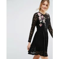 AsosAll Over Lace Mini Dress with Floral Embroidery - Black