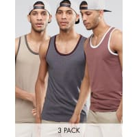 AsosMuscle Singlet With Contrast Trim 3 Pack - Multi