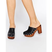 AsosOHIO Leather Clog Heels - Black