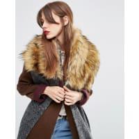 AsosOversized Knit Scarf & Faux Fur Mix - Grey