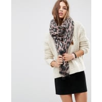AsosOversized Long Woven Scarf In Pink Leopard - Pink