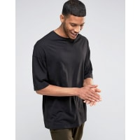 AsosLang geschnittenes Oversize-T-Shirt in Schwarz mit halblangen Ärmeln - Schwarz