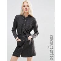 Asos PetiteDenim Shirt Dress in Washed Black - Black