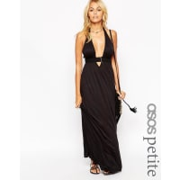 Asos PetiteJersey Ruched Halter Maxi Beach Dress - Black