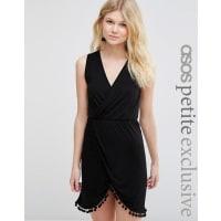Asos PetiteWrap Front Beach Dress with Pom Poms - Black