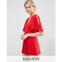 Asos PetiteWrap Front Kimono Sleeve Playsuit - Red