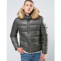 AsosQuilted Jacket with Fur Trim Hood in Khaki - Green