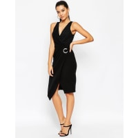 AsosWrap Dress With Eyelet Detail - Black