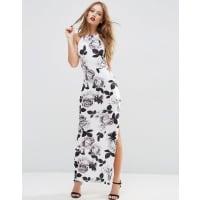 AsosStrappy Back Maxi Dress in Mono Floral - Multi