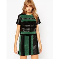 AsosSuede and Leather Blocked T-Shirt Dress - Multi