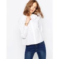 AsosRuffle Neck White Shirt - White