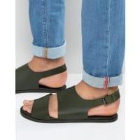 AsosSandals in Khaki Leather With Cut Out - Green