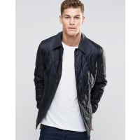 AsosQuilted Jacket In Ripstop Fabric In Black - Black