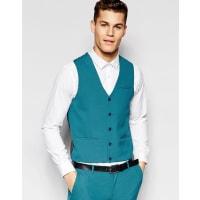 AsosSuper Skinny Waistcoat In Turquoise - Blue