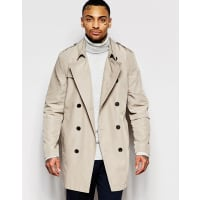 AsosShower Resistant Trench Coat In Stone - Stone