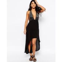 AsosSilver Ring Detail High Low Hem Beach Dress - Black